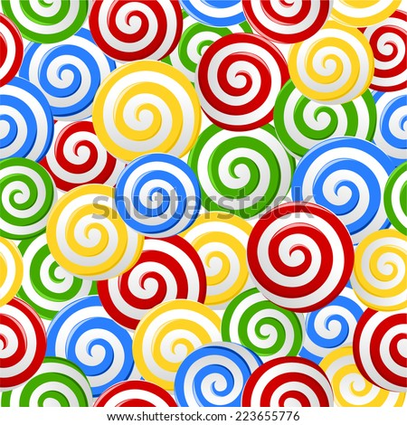 Abstract red, blue, green, yellow and white candy spiral lollipops seamless pattern background. vector art image illustration, eps10  - stock vector