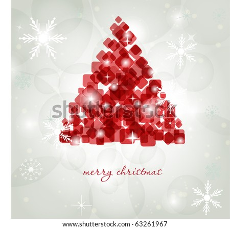 Abstract red christmas tree. Christmas Tree from abstract transparent cube and square elements. Christmas card design. Christmas poster, t-shirt or web design with red fir tree