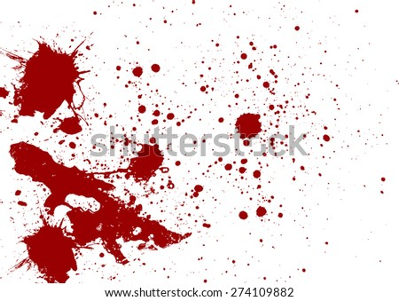 Abstract red color splatter on white background - stock vector