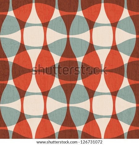 abstract red curves seamless texture - stock vector