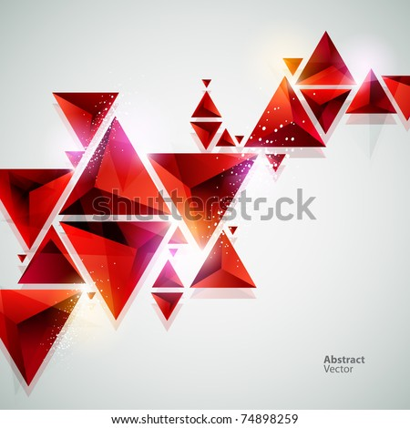 abstract red 3D background - stock vector