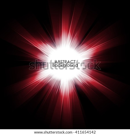 Abstract red digital background design with a burst, lens flare. Vector illustration - stock vector