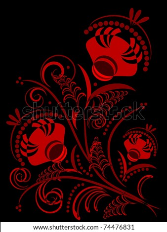 abstract red flowers on black background