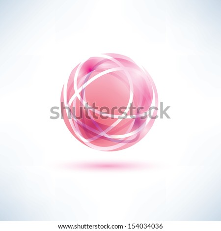 abstract red globe symbol - stock vector