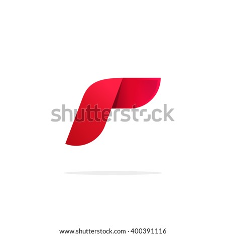 Abstract red gradient logo template design elements with shadow, beauty letter R logotype icon, elegant symbol isolated on white background - stock vector