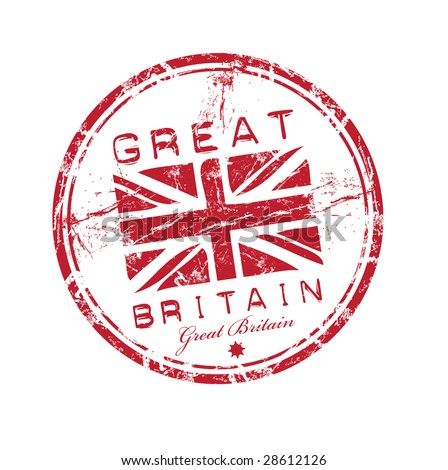 Abstract red grunge rubber stamp with the name of Great Britain written inside the stamp - stock vector