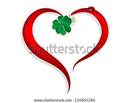 Abstract red heart with clover leaf and ladybird - stock vector