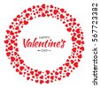 Abstract Red Hearts Circle Frame for Valentines Day Design Vector Illustration Card isolated on White Background. Wedding Invitation Card. HappyLogo emblem for health care, medical, treatment.