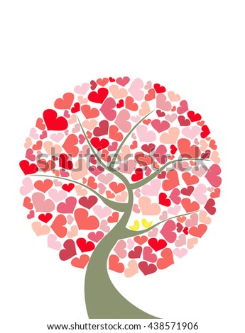 Abstract red hearts shape tree with couple yellow birds on white background.