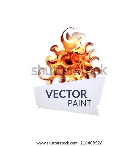 Abstract red orange digital watercolor ink, virtual technology splash paint isolated on white background - stock vector