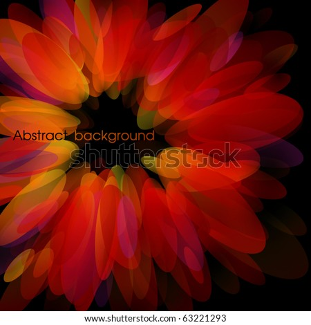 Abstract red petals. Use for stylish design. Big copy space. Not cropped right side. - stock vector