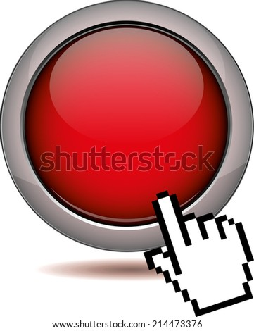 abstract red round eps10 vector button sign with cursor hand - stock vector