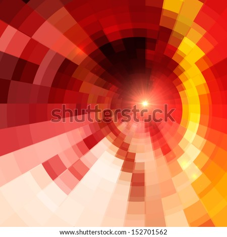 Abstract red shining circle tunnel background - stock vector