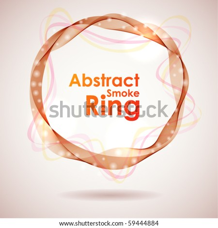 Abstract red smoke ring design element. - stock vector