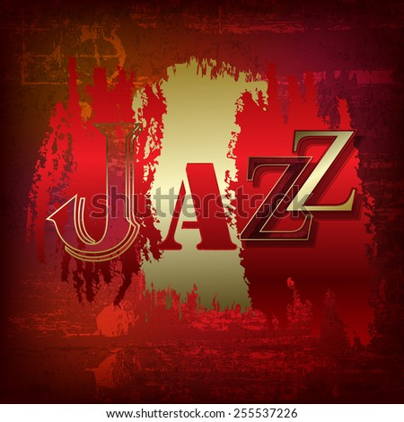 abstract red sound grunge background with word Jazz - stock vector