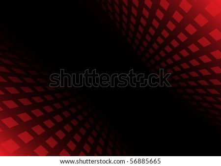 Abstract red squared tunnel vector abstraction - stock vector