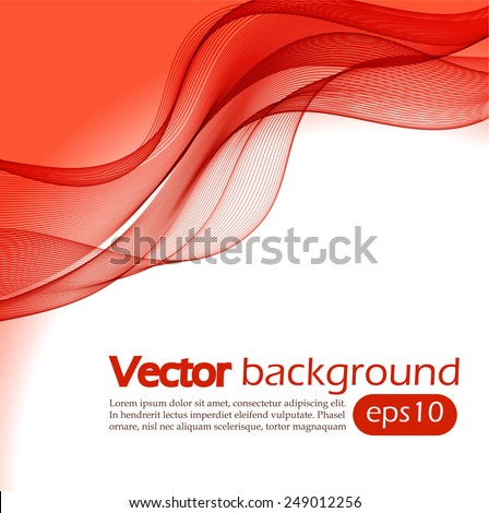 Abstract red wavy background - stock vector
