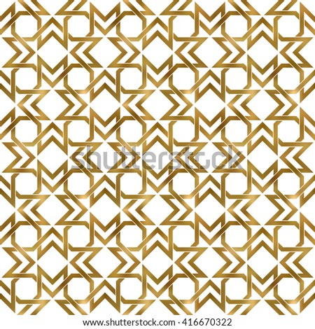 Abstract repeatable pattern background of golden twisted bands. Swatch of gold shapes plexus in polygons form. Seamless pattern in modern style.