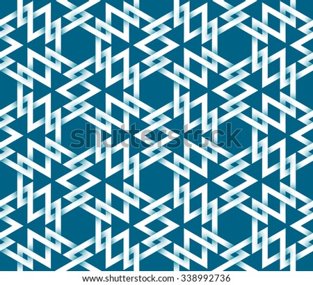 Abstract repeatable pattern background of white twisted strips on blue. Swatch of intertwined triangles and hexagons. Seamless pattern in celtic style. - stock vector