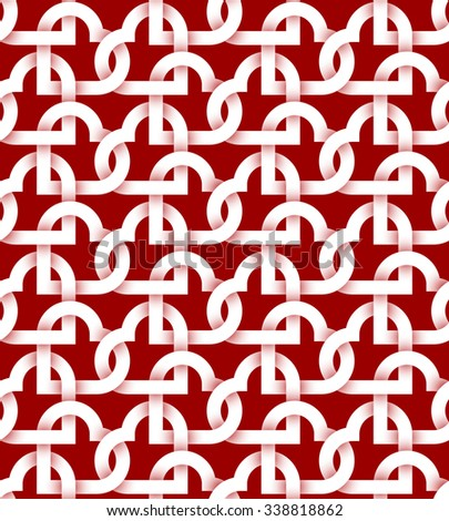 Abstract repeatable pattern background of white twisted strips on red. Swatch of intertwined hearts. Romantic seamless pattern. - stock vector