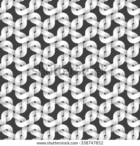 Abstract repeatable pattern background of white twisted strips. Swatch of intertwined links. Seamless pattern in celtic style. - stock vector