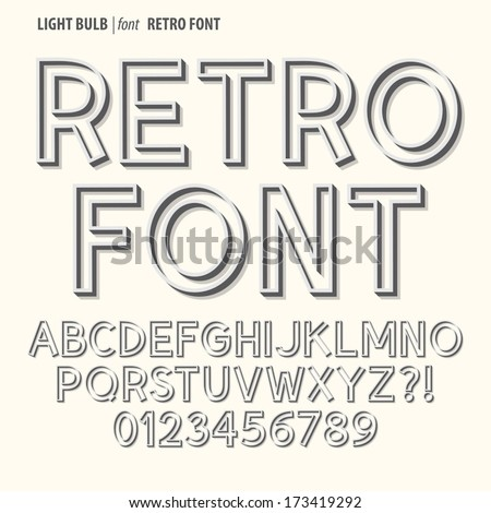 Abstract Retro Alphabet and Digit Vector - stock vector