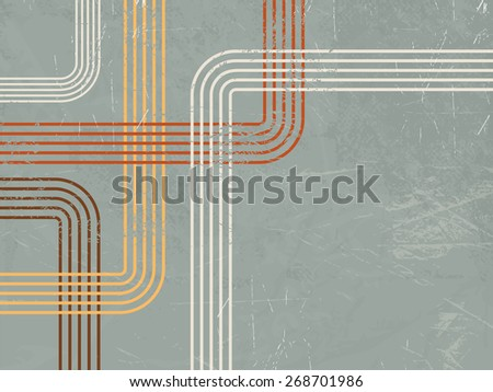 Abstract retro background with curved lines - stock vector