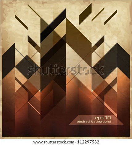 Abstract Retro Background With Geometric Shapes - stock vector