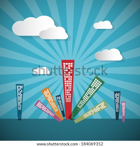 Abstract Retro Blue Background with Clouds and Houses  - stock vector