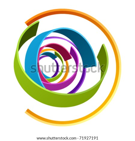 Abstract retro 3d circles as design element - stock vector