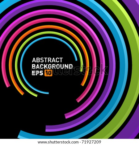 Abstract retro 3d circles lines vector background. Eps 10 - stock vector