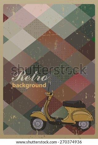 Abstract retro geometric background with a scooter. Vector Illustration - stock vector