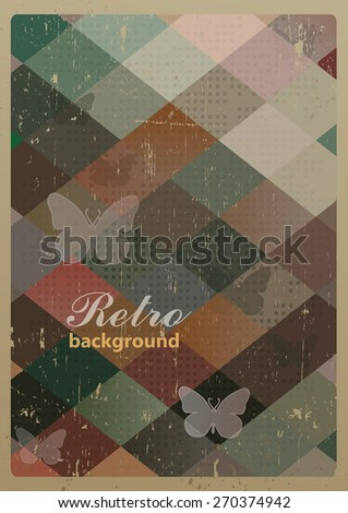 Abstract retro geometric background with butterflies . Vector Illustration - stock vector