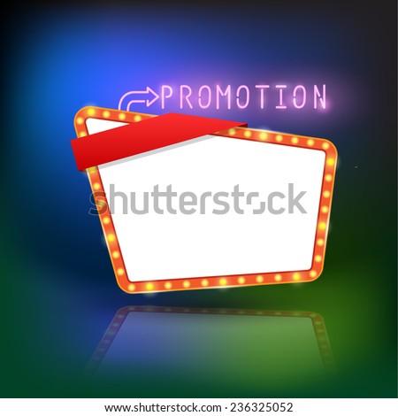 Abstract retro light promotion banner. Vector illustration - stock vector