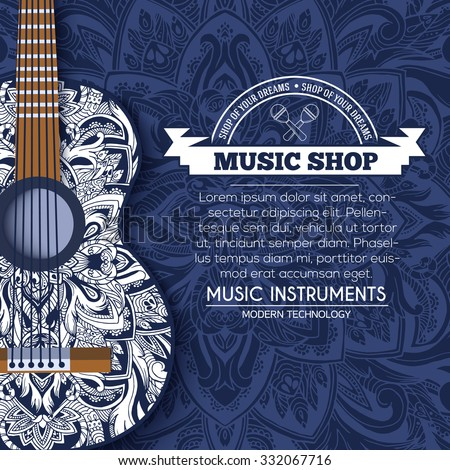 Abstract retro music guitar on blue floral background of the ornament concept. Art decorative, Islam, arabic, indian, ottoman motifs, elements. Vector modern greeting card or invitation design. - stock vector