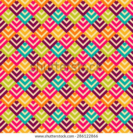 Abstract retro seamless pattern. Vector illustration for fashion design. Vintage geometric wallpaper. Bright arrow and square shapes.
