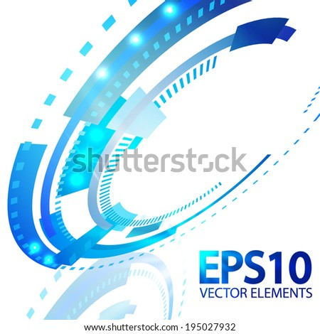 Abstract retro technology perspective circle. Vector illustration.