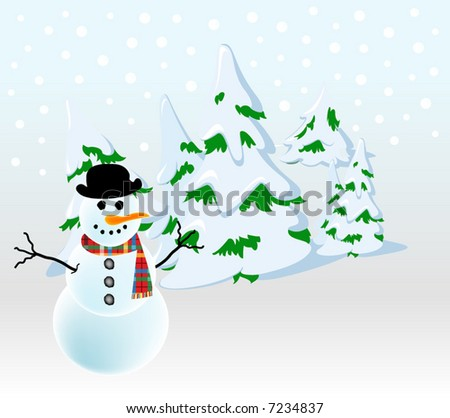 abstract retro vector winter christmas background with snowman