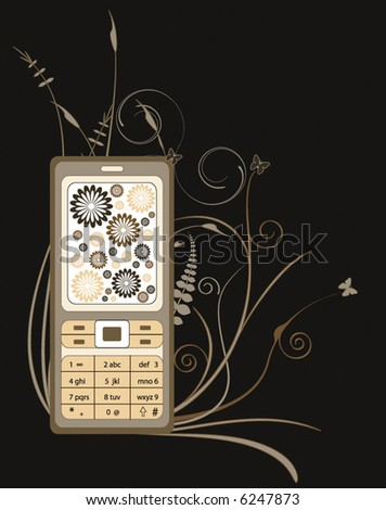 abstract retro wallpaper with cell-phone design with flowers and branches - stock vector