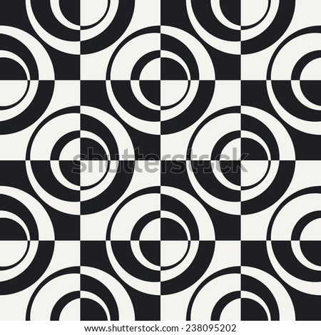 Abstract Ring and Square Pattern. Vector Seamless Monochrome Background. Regular Checkered Texture - stock vector