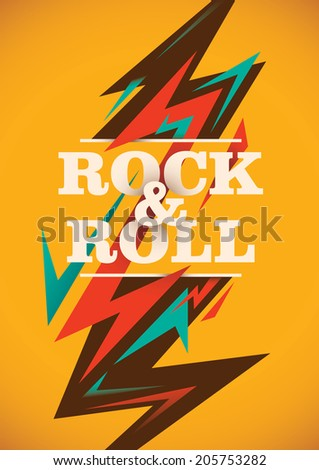 Abstract rock and roll poster. Vector illustration. - stock vector