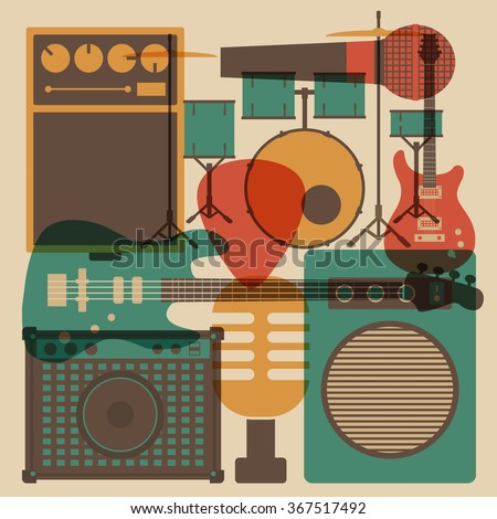 abstract rock instrument, vintage and retro style - stock vector