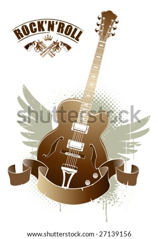 Abstract rock-n-roll image with two revolvers and guitar - stock vector