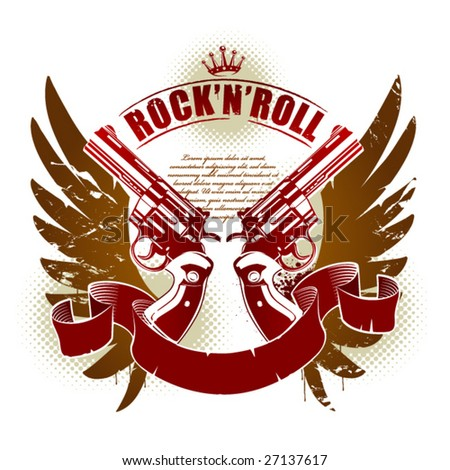 Abstract rock-n-roll image with two revolvers and wings - stock vector
