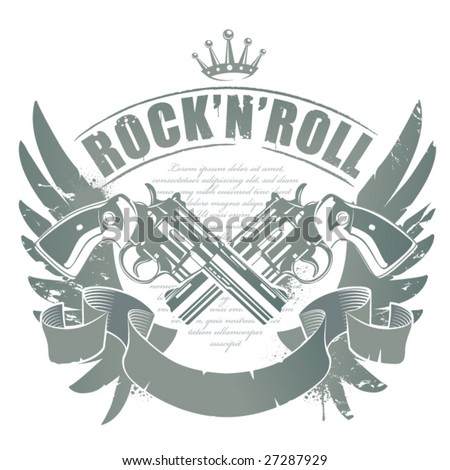 Abstract rock-n-roll image with two revolvers, wings and ribbon - stock vector