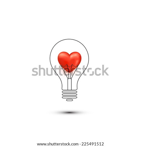 Abstract romantic icons. Heart in a light bulb imagination - stock vector