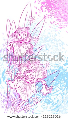 Abstract romantic vector background with irises. vector illustration