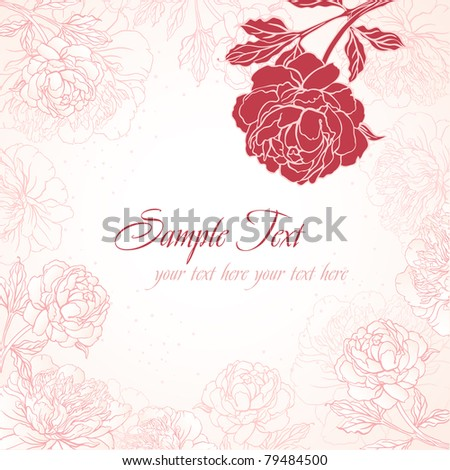 Abstract romantic vector background with peonies - stock vector