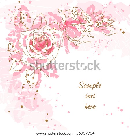 Abstract romantic vector background with three pink roses - stock vector