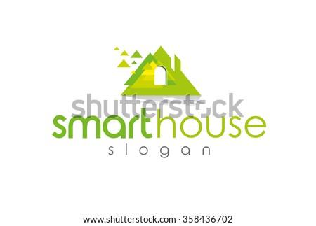abstract roof smart house solar power design concept for real estate agencies vector logo design template electricity - stock vector